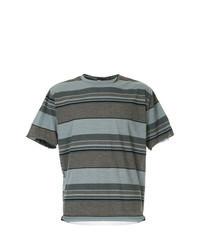 Brown Horizontal Striped Crew-neck T-shirt