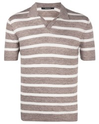 Tagliatore Striped Knitted Open Collar Polo Shirt