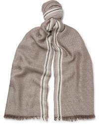 Fringed striped cashmere and silk blend scarf medium 4352896