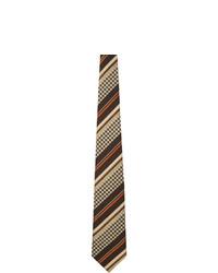 Comme des Garcons Homme Deux Brown And Beige Striped Tie