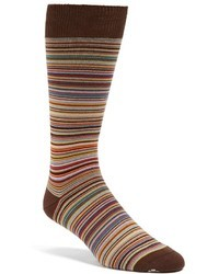 Brown Horizontal Striped Socks