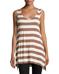 Wide stripe scoop neck tank brownivory medium 193431
