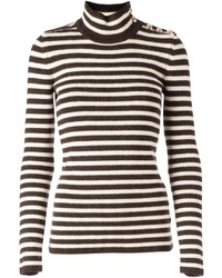 Brown Horizontal Striped Turtleneck