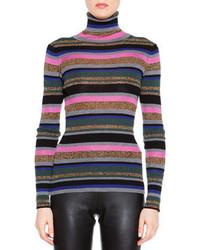Emilio Pucci Striped Long Sleeve Mock Turtleneck Sweater
