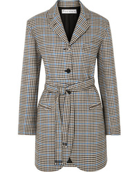 JW Anderson Belted Houndstooth Wool And Cotton Blend Blazer