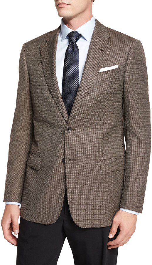 Armani Collezioni G Line Mini Houndstooth Sport Jacket Tan | Where ...