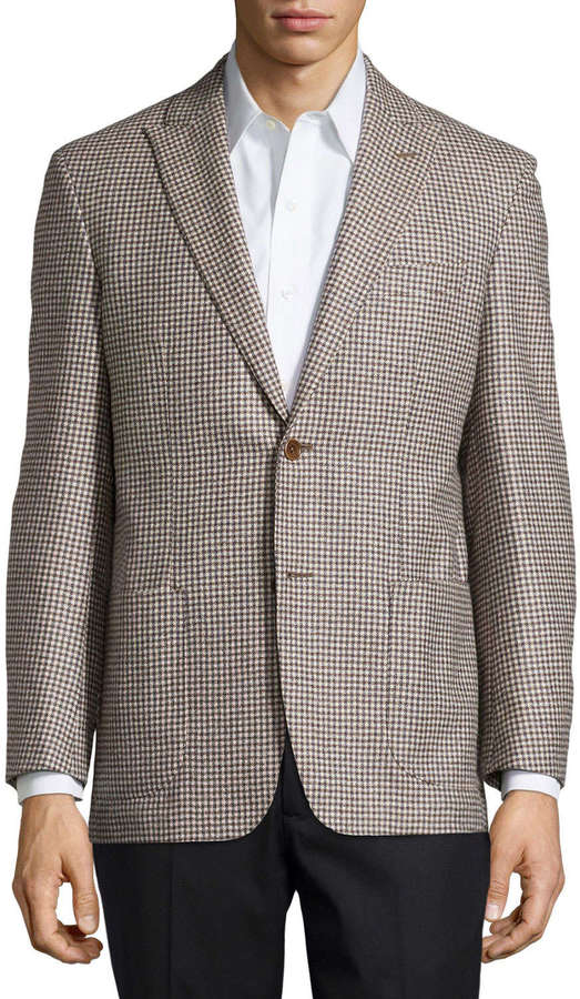 Ike Behar Houndstooth Sport Coat Tan Regular Length | Where to buy ...
