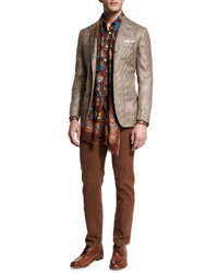 Kiton Houndstooth Two Button Cashmere Jacket Tanbrown