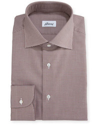 Brioni Micro Houndstooth Dress Shirt Brown