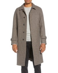 Ring Jacket Houndstooth Check Wool Top Coat