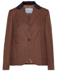 Prada Suede And Corduroy Trimmed Houndstooth Wool And Mohair Blend Blazer Brown