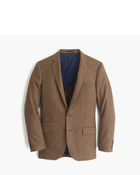 Brown Houndstooth Wool Blazer