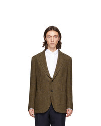 Drakes Brown And Green Wool Houndstooth Blazer