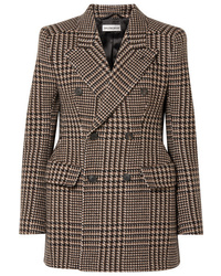 Brown Houndstooth Wool Double Breasted Blazer