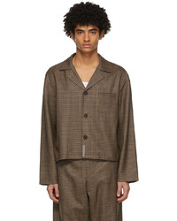 Brown Houndstooth Wool Long Sleeve Shirt