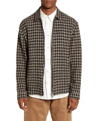 WAX LONDON Witham Houndstooth Wool Blend Coachs Jacket