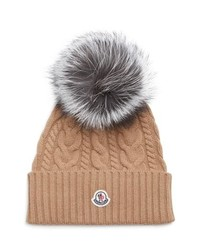 Moncler Cable Knit Beanie With Genuine Fox