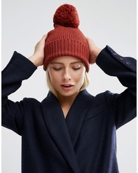 Asos Knitted Pom Beanie In Mixed Knit