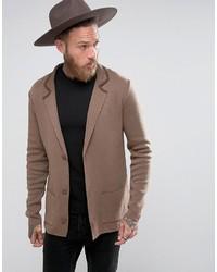 Asos Slim Fit Knitted Blazer In Light Brown