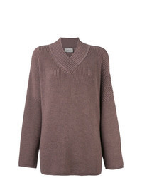 Brown Knit Oversized Sweater