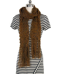 Choies Brown Knit Scarf With Tassel