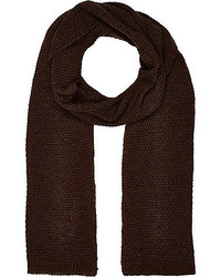 River Island Dark Brown Knitted Scarf