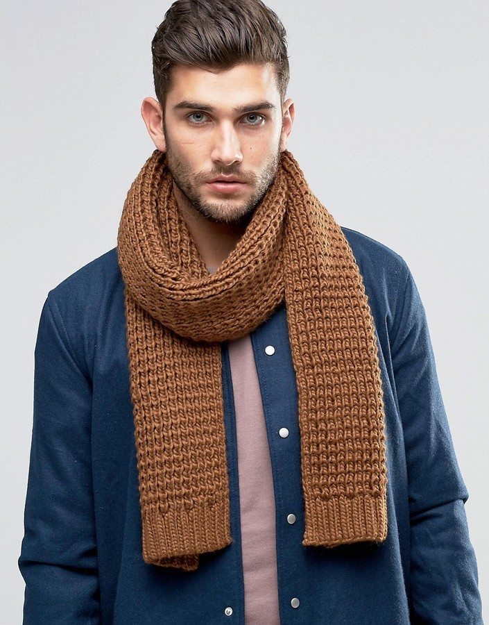 8cde2ee6f Asos Knitted Scarf In Tobacco, $16 | Asos | Lookastic.com