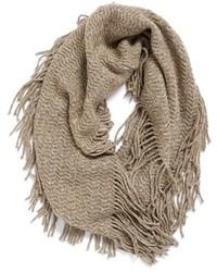 Marled Knit Fringe Infinity Scarf