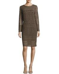 Nic+Zoe Long Sleeve Lacy Knit Sheath Dress Plus Size