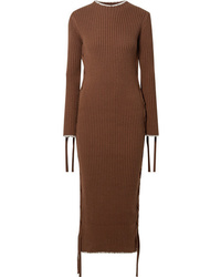 By Malene Birger Lace Up Ribbed Cotton Dress