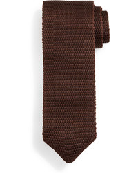 Tom Ford Thin Striped Knit Tie Brown