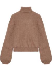 Cropped silk blend turtleneck sweater brown medium 6860334