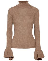 Raine cutout ribbed alpaca and wool blend turtleneck sweater light brown medium 6860335