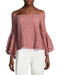 Alexis Thea Off The Shoulder Lace Bell Sleeve Top