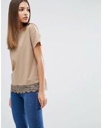 Asos Lace Trim Short Sleeve T Shirt