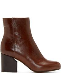 Maison Margiela Chestnut Leather Ankle Boots