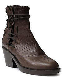 Haider Ackermann Crocodile Print Leather Lace Up Ankle Boots
