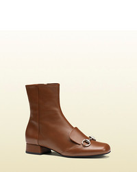 Gucci Leather Horsebit Ankle Boot