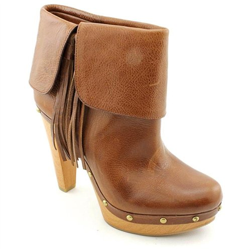 INC International Concepts Viola Brown Leather Fashion Ankle Boots