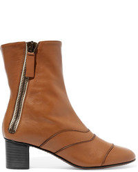 Chloé Paneled Leather Ankle Boots Tan