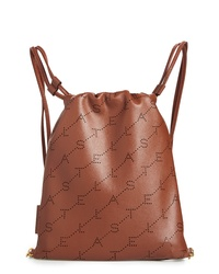 Stella McCartney Perforated Logo Mini Faux Leather Drawstring Backpack