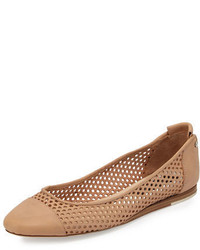 Sybil perforated leather ballerina flat tan medium 4983264