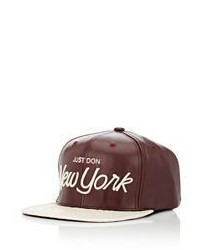 Just Don Leather Python Baseball Cap Red