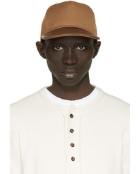 Balmain Tan Leather Trimmed Cap