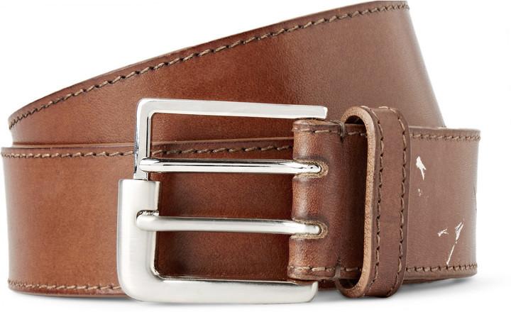 Maison Margiela 35cm Tan Distressed Leather Belt