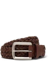 Brunello Cucinelli 3cm Brown Braided Leather Belt