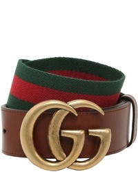 Gucci 40mm Gg Marmont Web Leather Belt