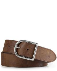 Polo Ralph Lauren Accessories Distressed Leather Centerbar Buckle Belt