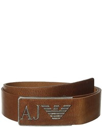 Armani Jeans R3 Belt With Leather Logo Buckle