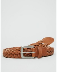 Asos Brand Plaited Belt In Tan Leather